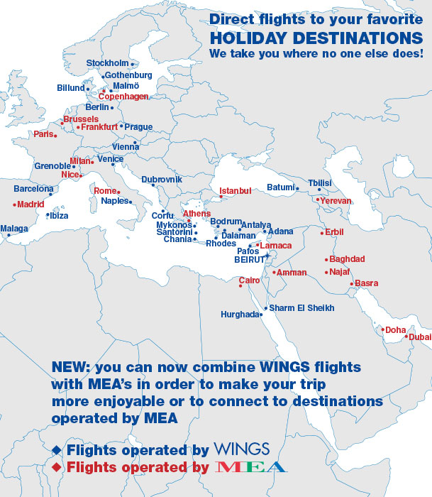 Destination flights Map